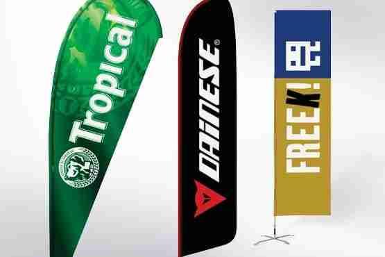 Expositor professional Promo Flag, Gota, Pluma, Rectangular